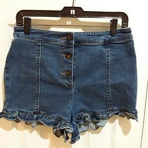 Sugarlips Buttonfly Ruffled Denim Shorts Sz M